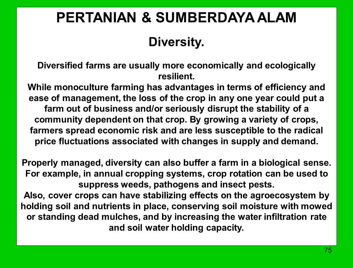 PERTANIAN & SUMBERDAYA ALAM