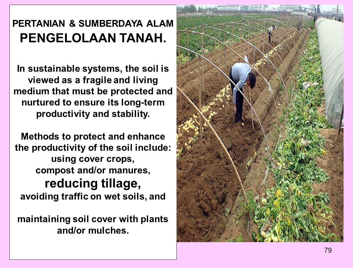 PENGELOLAAN TANAH. reducing tillage, PERTANIAN & SUMBERDAYA ALAM