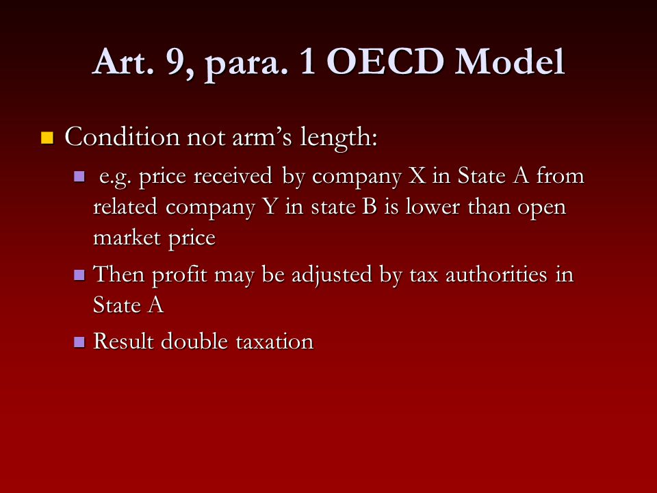 Art. 9, para. 1 OECD Model Condition not arm's length: