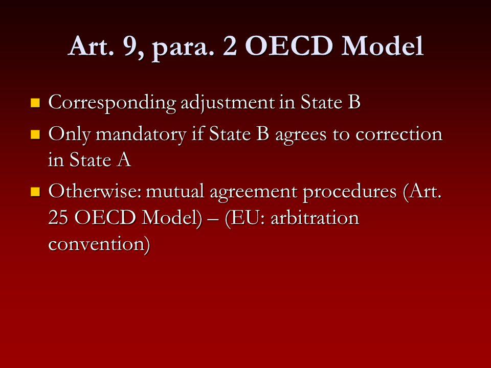 Art. 9, para. 2 OECD Model Corresponding adjustment in State B