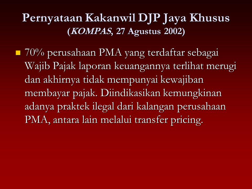 Pernyataan Kakanwil DJP Jaya Khusus (KOMPAS, 27 Agustus 2002)