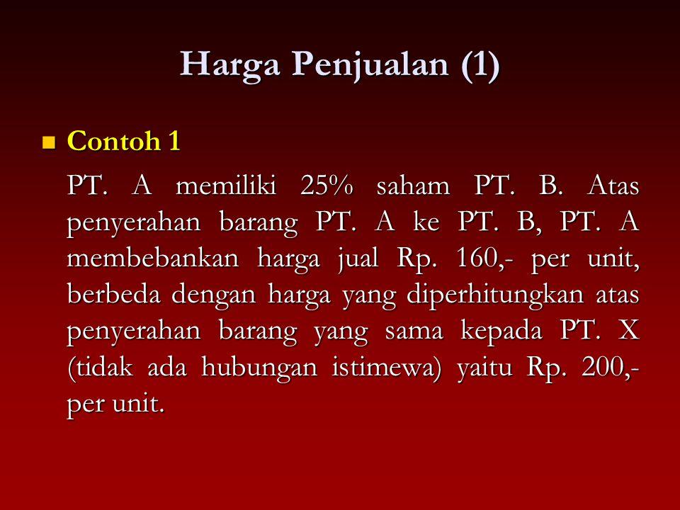 Harga Penjualan (1) Contoh 1