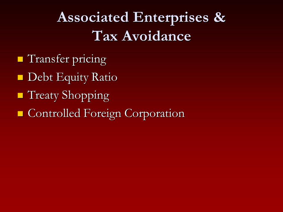 Associated Enterprises & Tax Avoidance