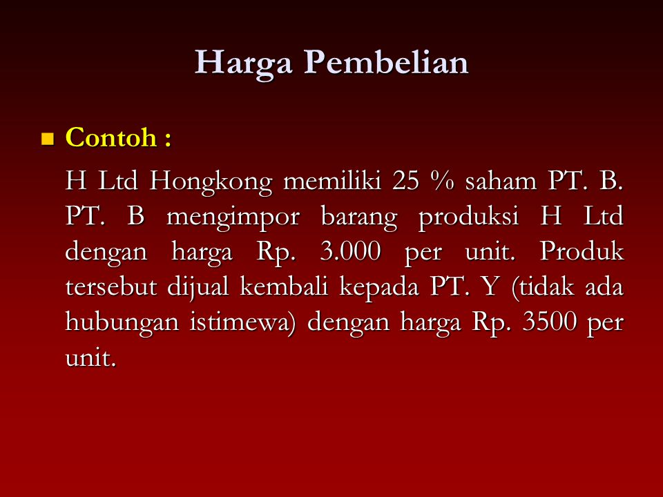 Harga Pembelian Contoh :