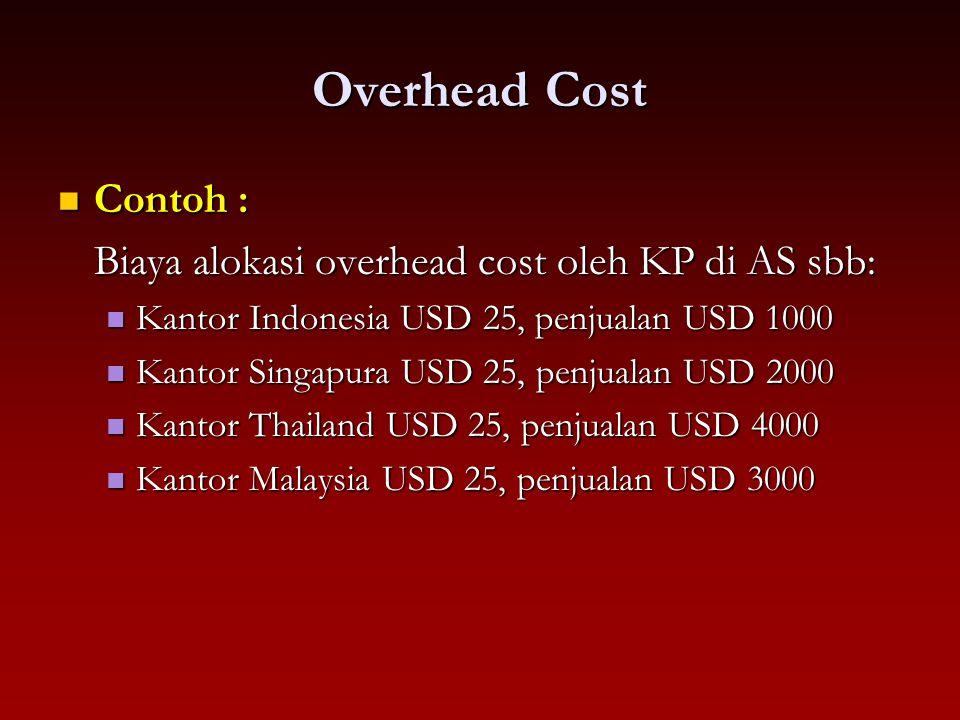 Overhead Cost Contoh : Biaya alokasi overhead cost oleh KP di AS sbb:
