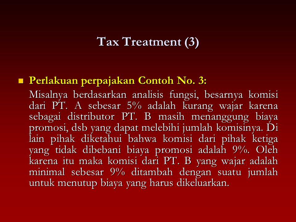 Tax Treatment (3) Perlakuan perpajakan Contoh No. 3: