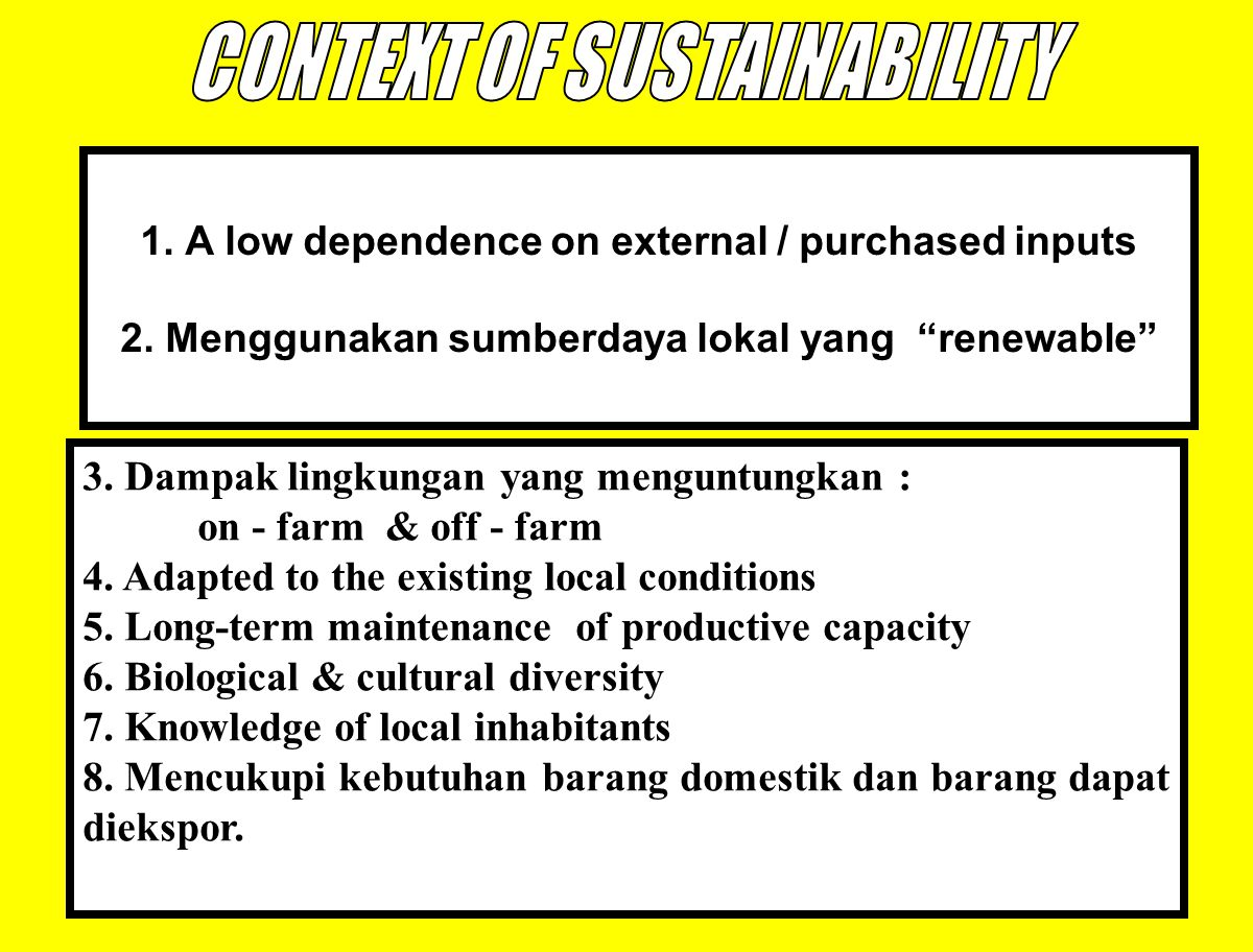 CONTEXT OF SUSTAINABILITY