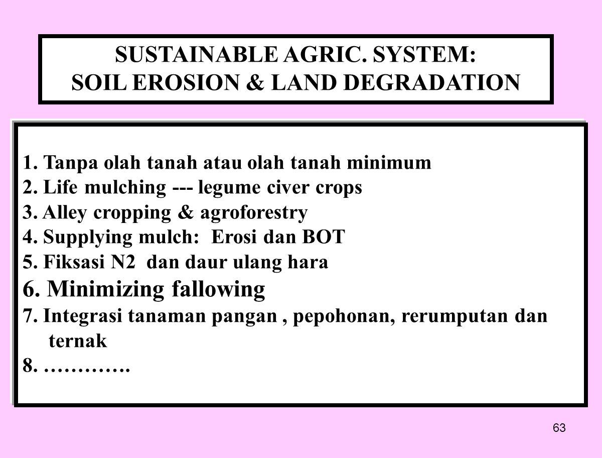 SUSTAINABLE AGRIC. SYSTEM: SOIL EROSION & LAND DEGRADATION