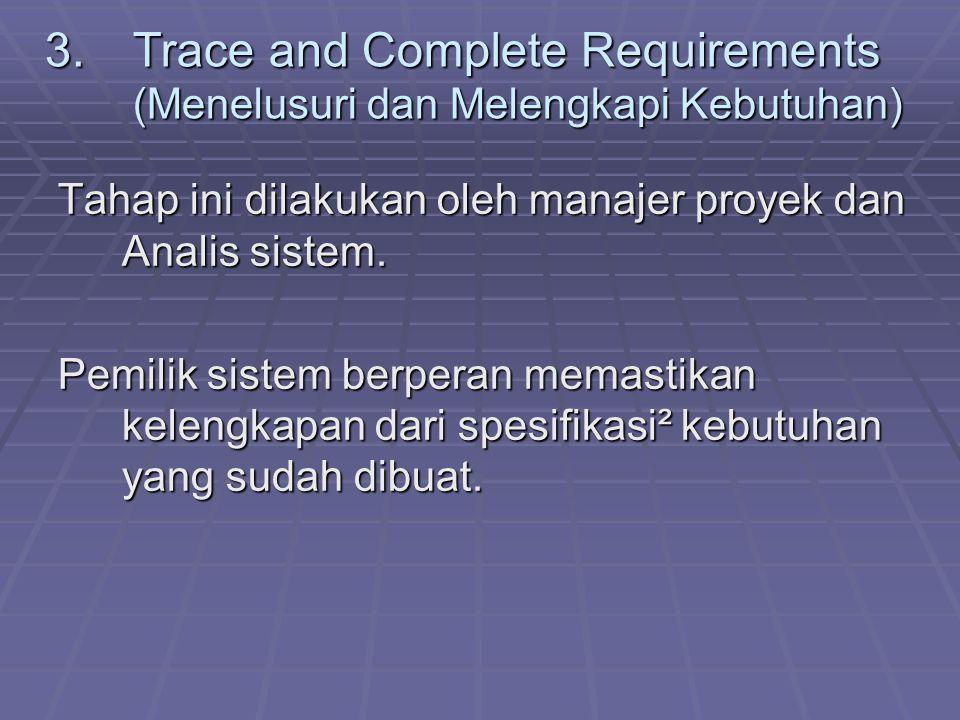 Trace and Complete Requirements (Menelusuri dan Melengkapi Kebutuhan)