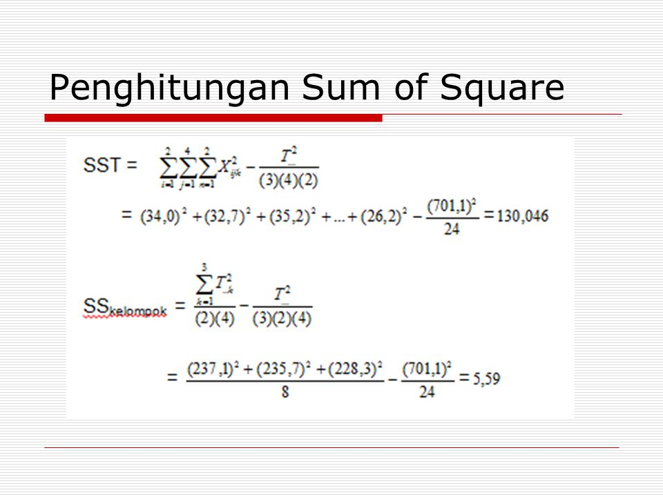 Penghitungan Sum of Square