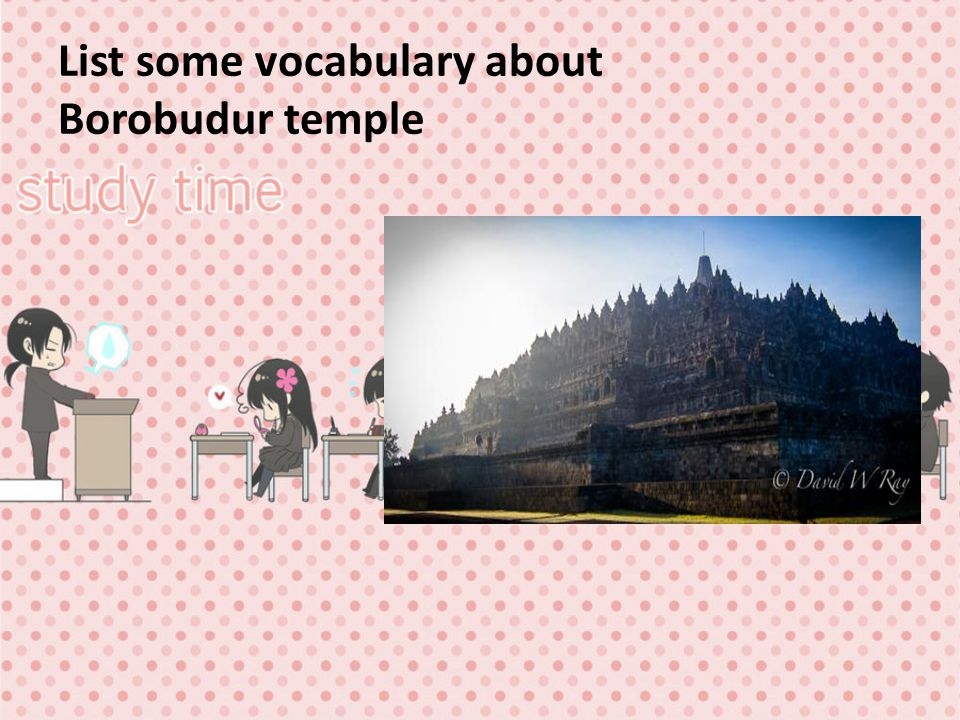 List some vocabulary about Borobudur temple