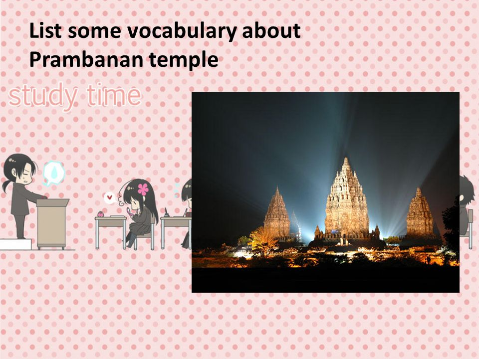 List some vocabulary about Prambanan temple