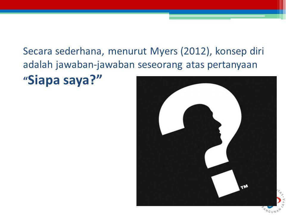 Secara sederhana, menurut Myers (2012), konsep diri adalah jawaban-jawaban seseorang atas pertanyaan Siapa saya
