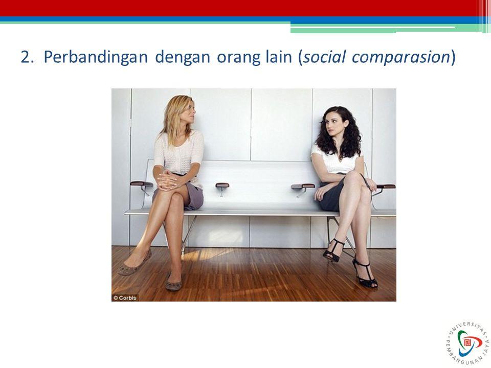 2. Perbandingan dengan orang lain (social comparasion)