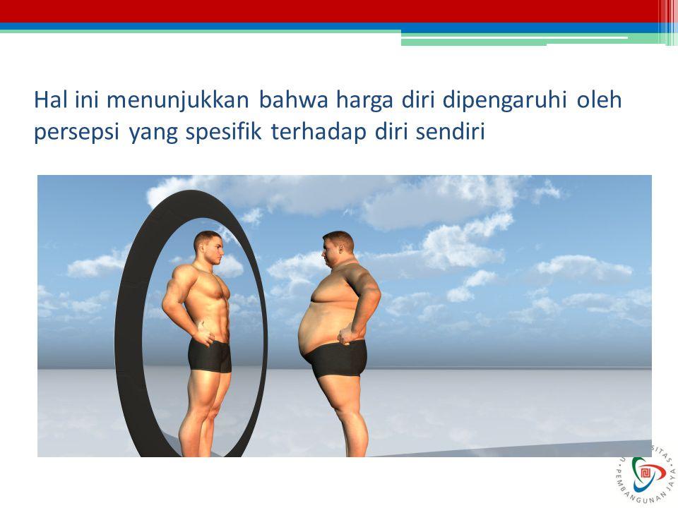 Hal ini menunjukkan bahwa harga diri dipengaruhi oleh persepsi yang spesifik terhadap diri sendiri