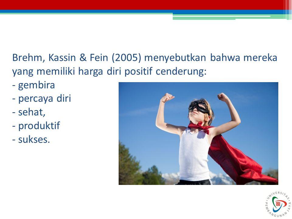 Brehm, Kassin & Fein (2005) menyebutkan bahwa mereka yang memiliki harga diri positif cenderung: