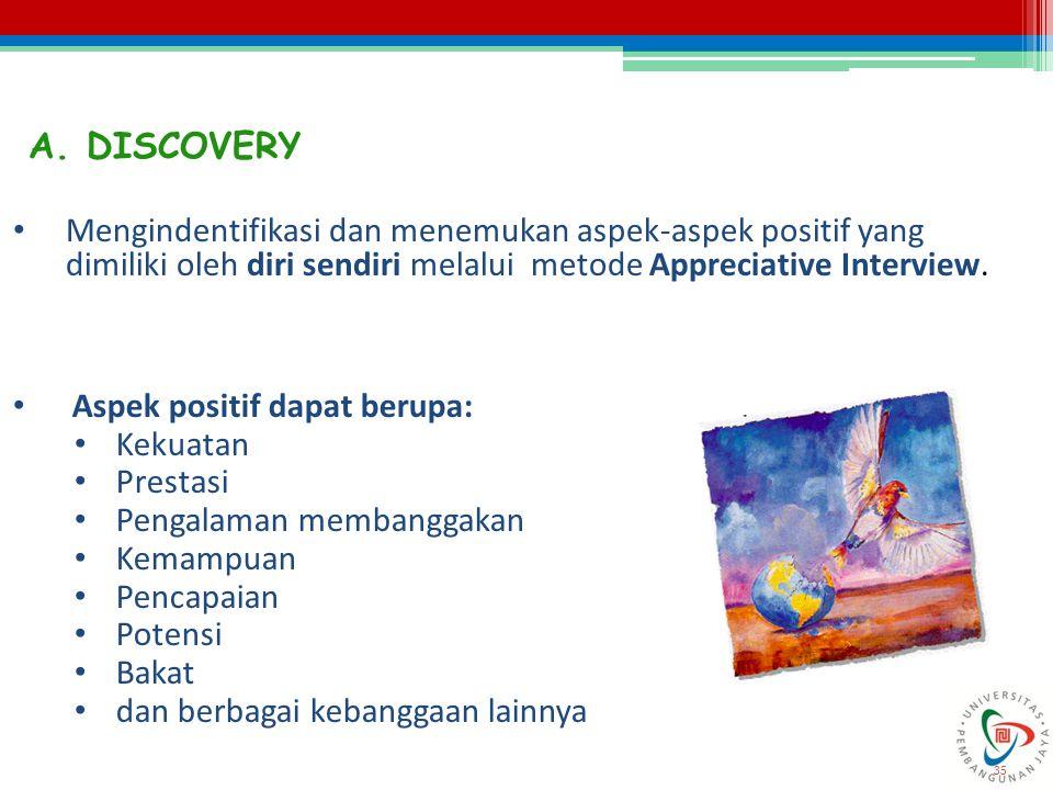 A. DISCOVERY Mengindentifikasi dan menemukan aspek-aspek positif yang dimiliki oleh diri sendiri melalui metode Appreciative Interview.