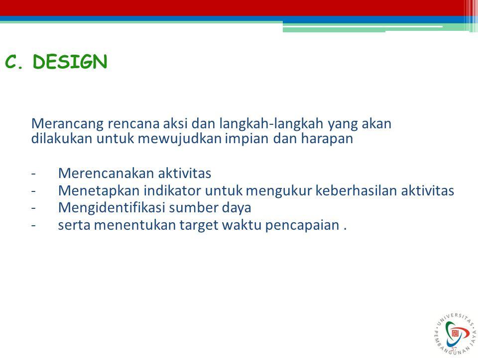 C. DESIGN Merancang rencana aksi dan langkah-langkah yang akan dilakukan untuk mewujudkan impian dan harapan.