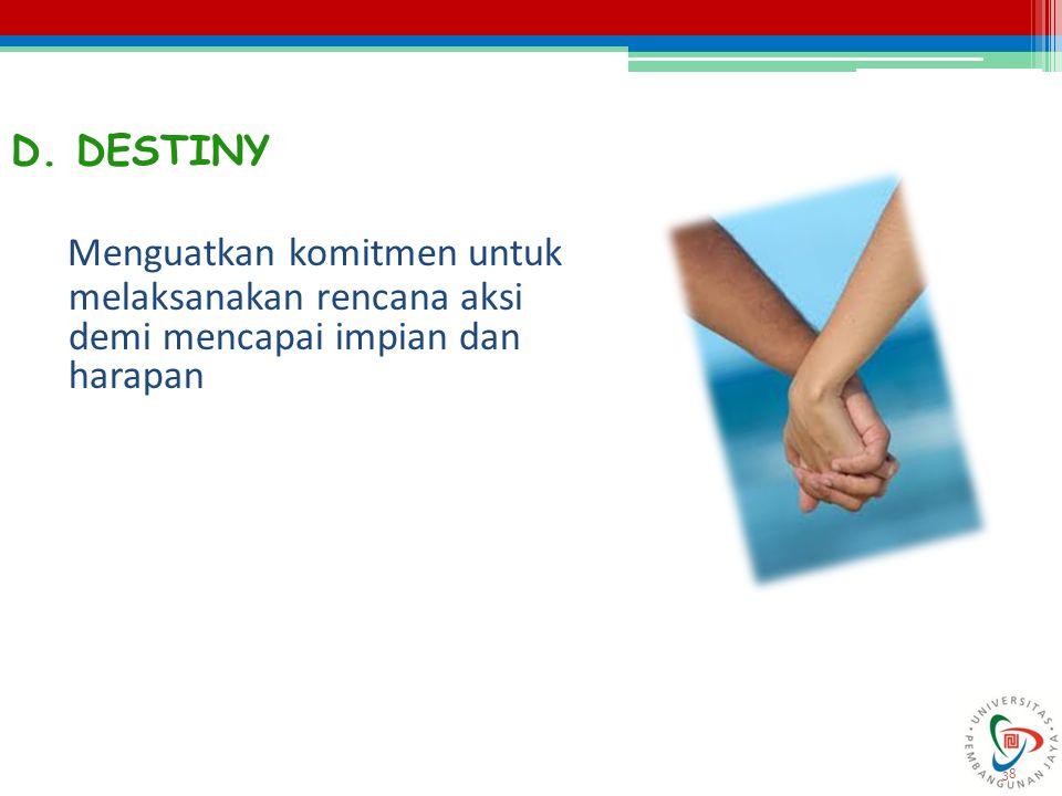 D. DESTINY Menguatkan komitmen untuk melaksanakan rencana aksi demi mencapai impian dan harapan