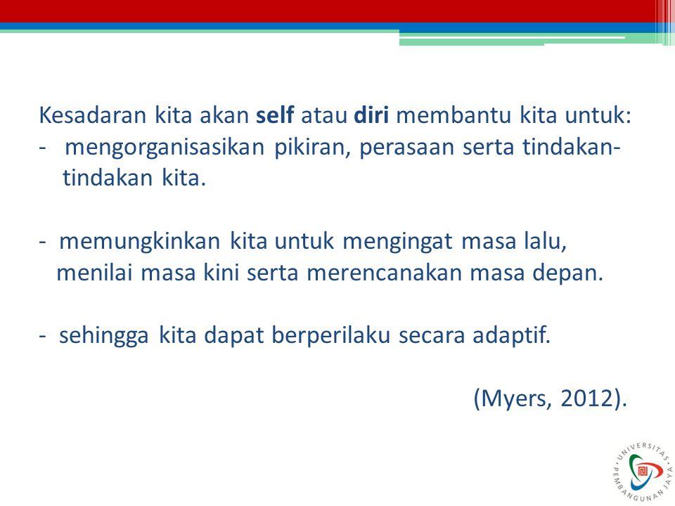 Kesadaran kita akan self atau diri membantu kita untuk: - mengorganisasikan pikiran, perasaan serta tindakan-