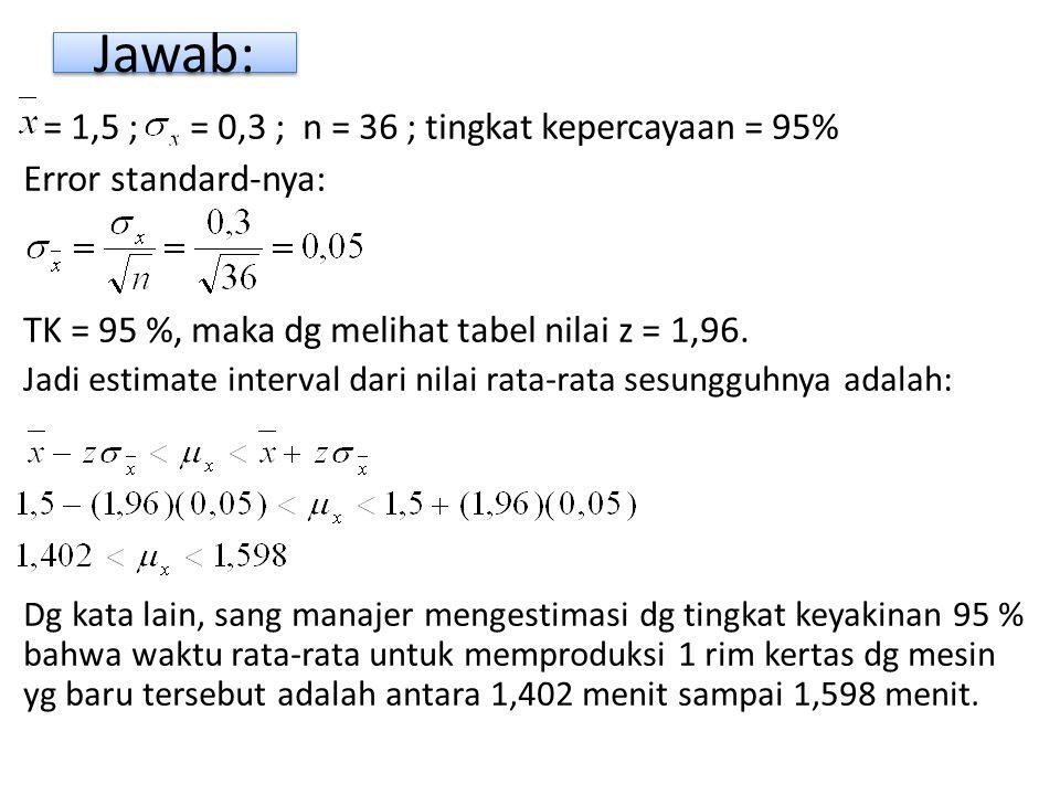Jawab: = 1,5 ; = 0,3 ; n = 36 ; tingkat kepercayaan = 95%