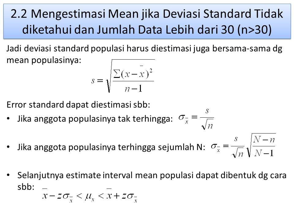 2.2 Mengestimasi Mean jika Deviasi Standard Tidak diketahui dan Jumlah Data Lebih dari 30 (n>30)