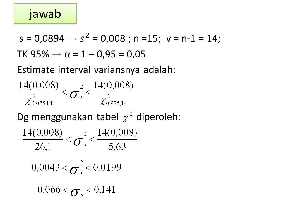 jawab s = 0,0894 𝑠 2 = 0,008 ; n =15; v = n-1 = 14; TK 95% α = 1 – 0,95 = 0,05 Estimate interval variansnya adalah: Dg menggunakan tabel diperoleh: