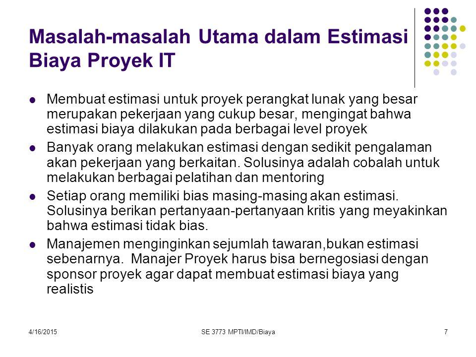 Masalah-masalah Utama dalam Estimasi Biaya Proyek IT