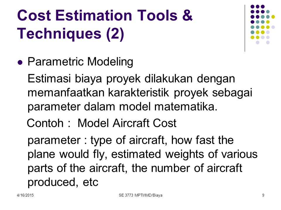 Cost Estimation Tools & Techniques (2)