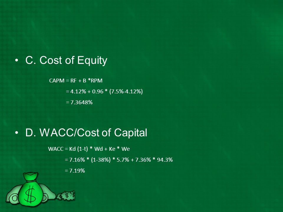 C. Cost of Equity D. WACC/Cost of Capital CAPM = RF + B *RPM