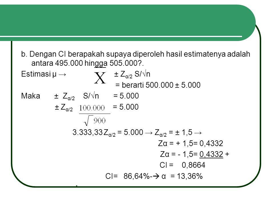 b. Dengan CI berapakah supaya diperoleh hasil estimatenya adalah antara 495.000 hingga 505.000 .