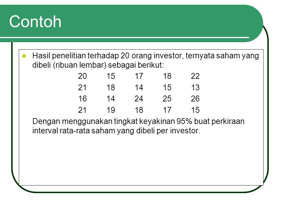 Contoh Hasil penelitian terhadap 20 orang investor, ternyata saham yang dibeli (ribuan lembar) sebagai berikut: