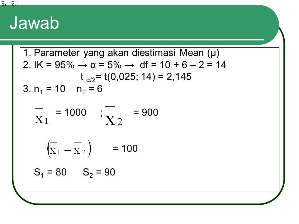 Jawab 1. Parameter yang akan diestimasi Mean (μ)