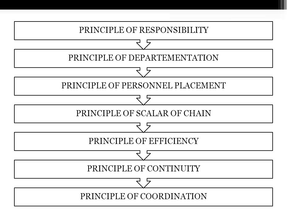PRINCIPLE OF RESPONSIBILITY PRINCIPLE OF DEPARTEMENTATION