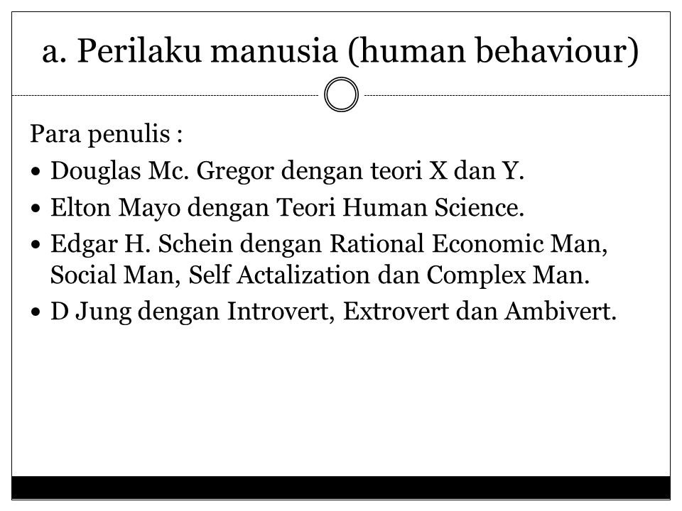 a. Perilaku manusia (human behaviour)