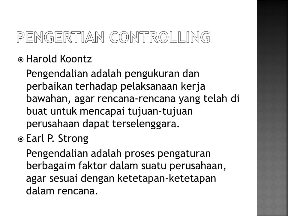 PENGERTIAN CONTROLLING