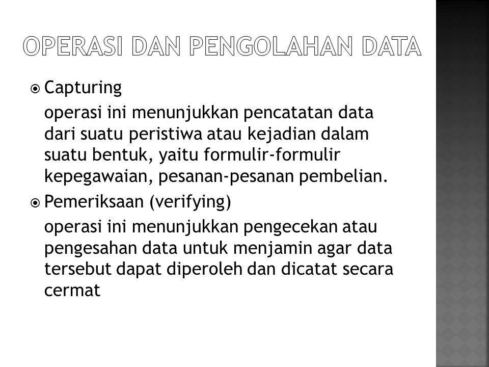 Operasi dan pengolahan data