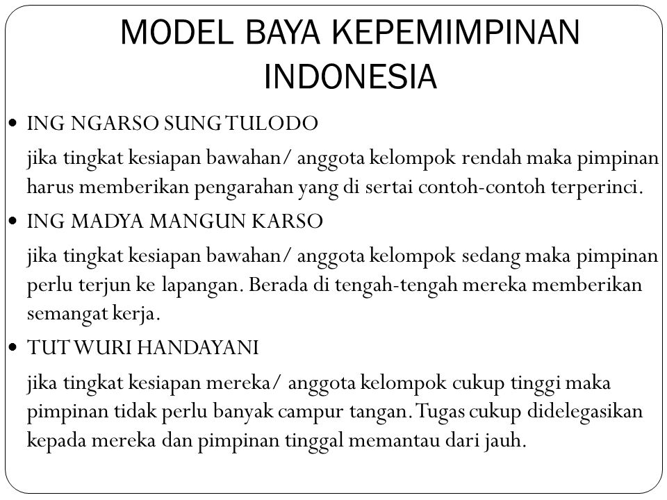MODEL BAYA KEPEMIMPINAN INDONESIA