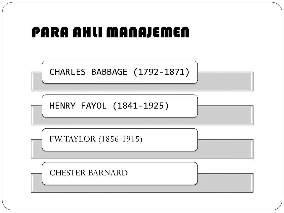 PARA AHLI MANAJEMEN CHARLES BABBAGE (1792-1871)