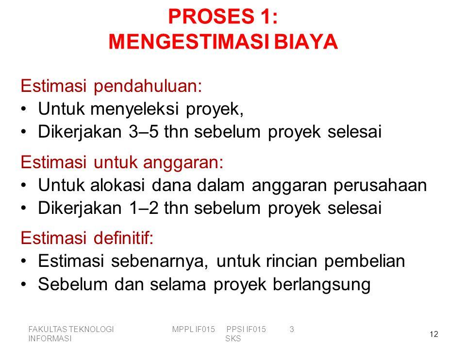 PROSES 1: MENGESTIMASI BIAYA
