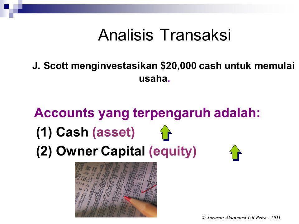 Analisis Transaksi J. Scott menginvestasikan $20,000 cash untuk memulai usaha. Accounts yang terpengaruh adalah:
