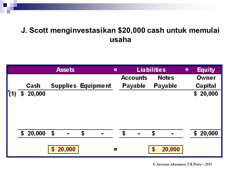 J. Scott menginvestasikan $20,000 cash untuk memulai usaha
