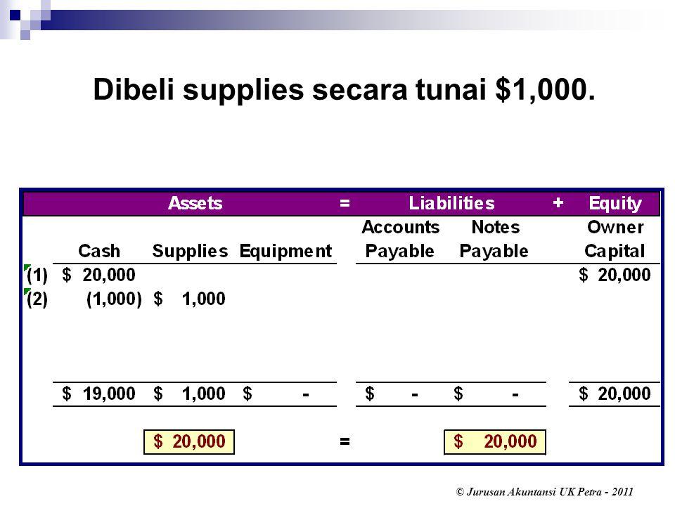 Dibeli supplies secara tunai $1,000.