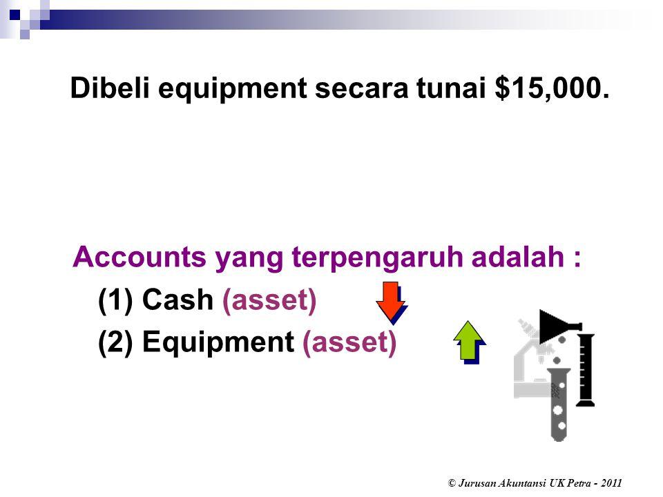 Dibeli equipment secara tunai $15,000.