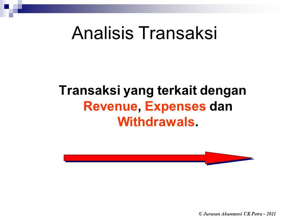 Transaksi yang terkait dengan Revenue, Expenses dan Withdrawals.