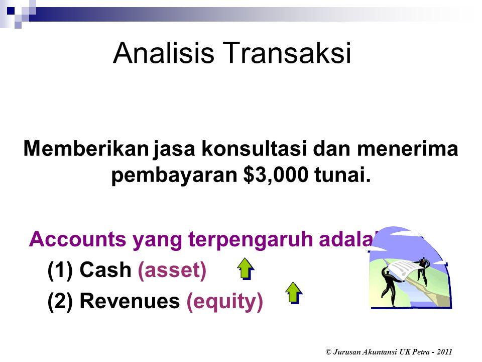Memberikan jasa konsultasi dan menerima pembayaran $3,000 tunai.