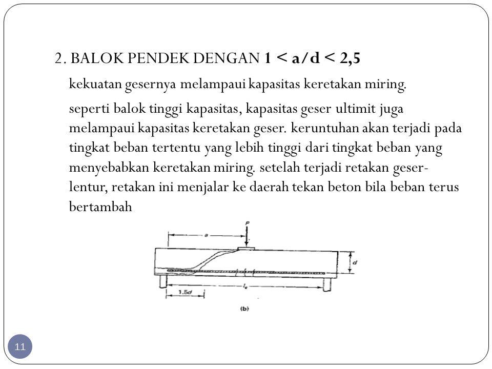 2. BALOK PENDEK DENGAN 1 < a/d < 2,5