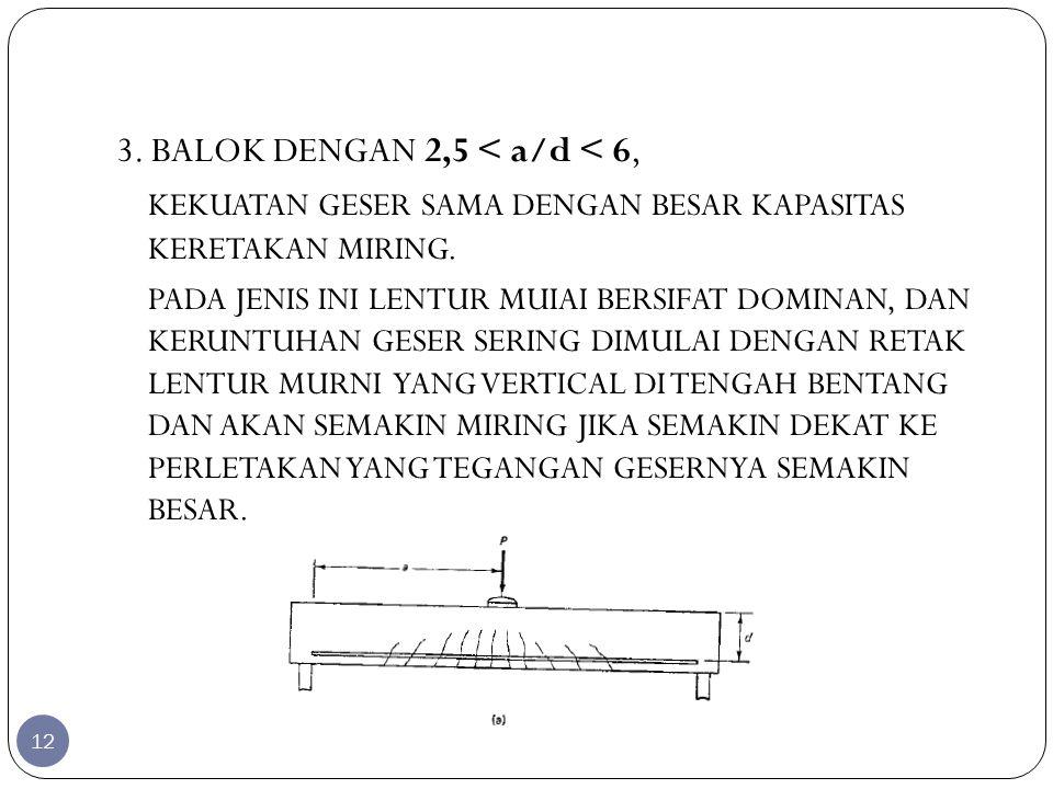 3. BALOK DENGAN 2,5 < a/d < 6,