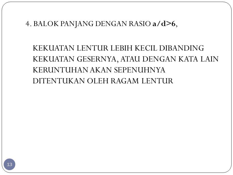 4. BALOK PANJANG DENGAN RASIO a/d>6,