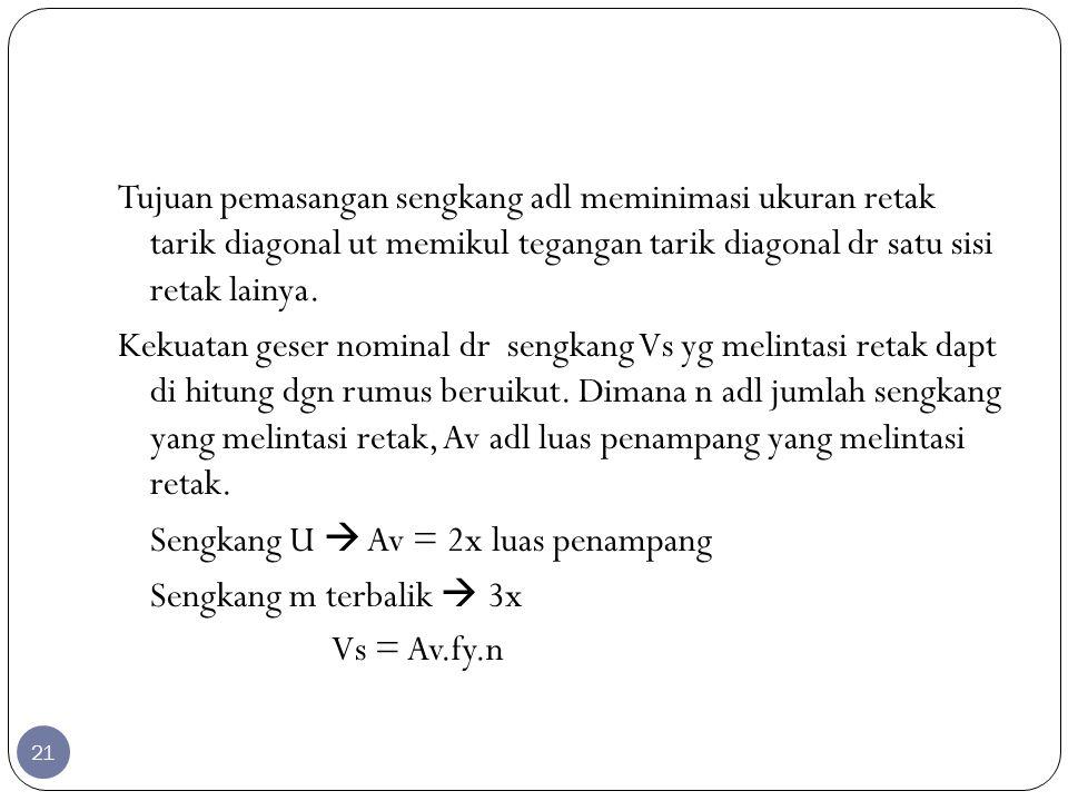 Sengkang U  Av = 2x luas penampang Sengkang m terbalik  3x
